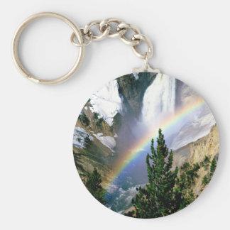 Rainbow Lower Falls Yellowstone Basic Round Button Key Ring