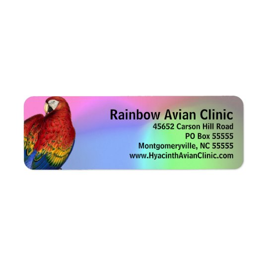 Rainbow Macaw with Colourful Background Return Address Label