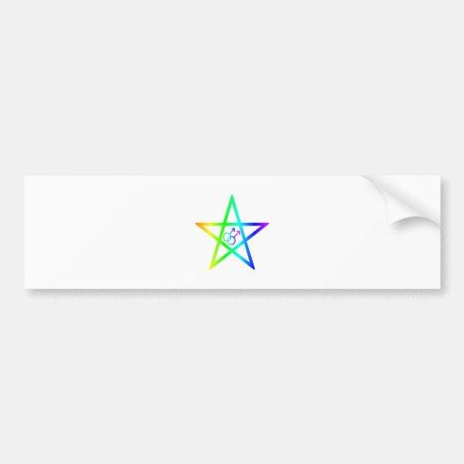 Rainbow Male Homosexual Pentagram Bumper Sticker