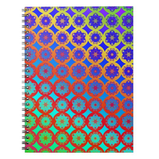 Rainbow Mandala Fractal Pattern Spiral Notebook