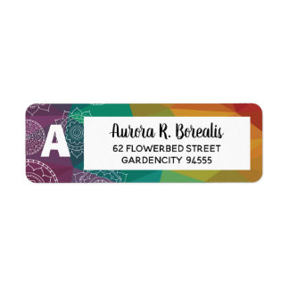 Rainbow mandala geometric address label