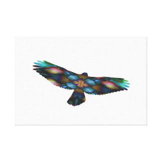 Rainbow Mandala Kaleidoscope Hawk in Flight Canvas Print