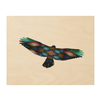 Rainbow Mandala Kaleidoscope Hawk in Flight Wood Print
