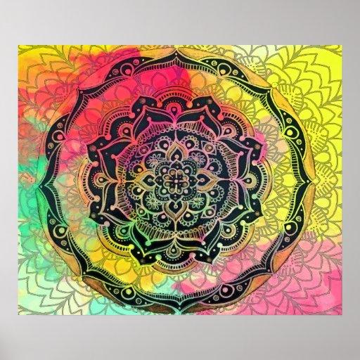 Rainbow Mandala Poster