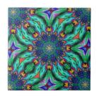 Rainbow Mandala Psychedelic Kaleidoscope Tile