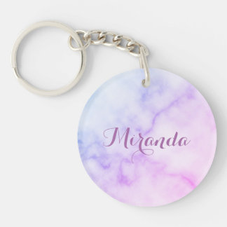 Rainbow Marble Pattern with Personalized Name Key Ring