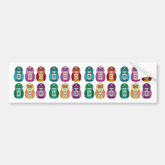 Rainbow Matryoshka Owls Bumper Sticker