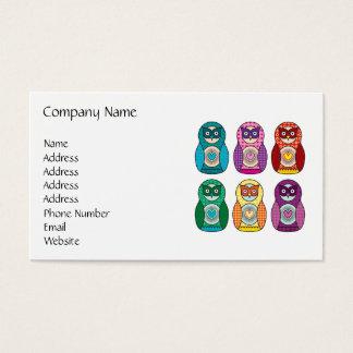Rainbow Matryoshka Owls Business Card