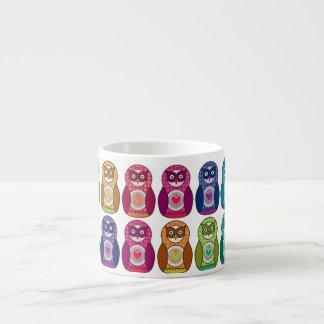 Rainbow Matryoshka Owls Espresso Cup