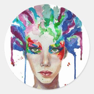 rainbow Medusa Classic Round Sticker