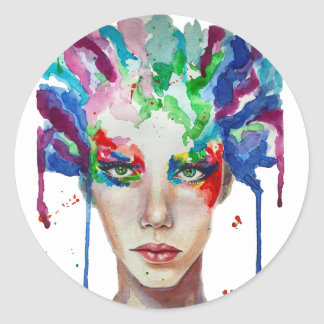 rainbow Medusa Round Sticker
