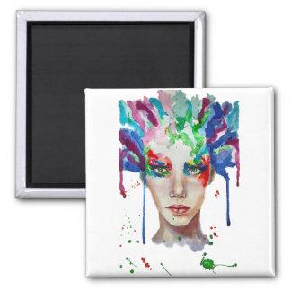 rainbow Medusa Square Magnet