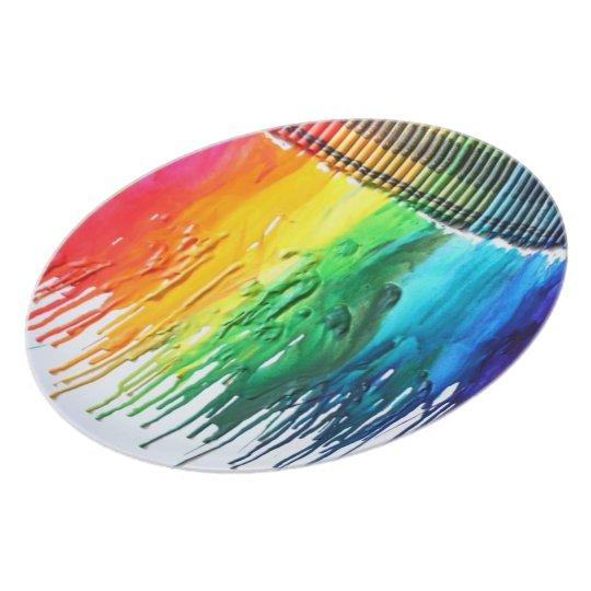 Rainbow melted crayon art dinner plate