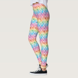 Rainbow Mermaid Scale Watercolor Leggings