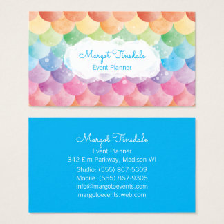 Rainbow Mermaid Watercolor Business Card