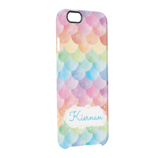 Rainbow Mermaid Watercolor Clear Phone Case