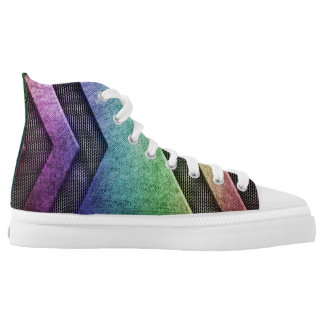 Rainbow Metal Modern Design High Top Shoes Printed Shoes