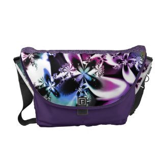 Rainbow Metallic Fractal Flower Messenger Bag