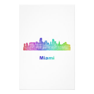 Rainbow Miami skyline Personalised Stationery