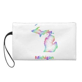 Rainbow Michigan map Wristlet Purses
