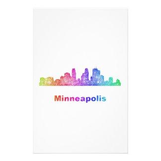 Rainbow Minneapolis skyline Personalized Stationery