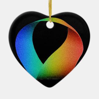Rainbow Mobius Strip Ceramic Heart Decoration