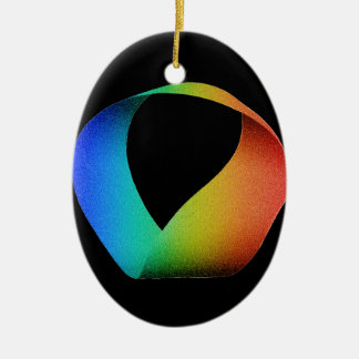 Rainbow Mobius Strip Ceramic Oval Decoration