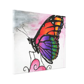 Rainbow Monarch Butterfly Original Fantasy Art Gallery Wrapped Canvas