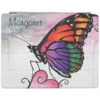 Rainbow Monarch Butterfly Original Fantasy Art iPad Cover