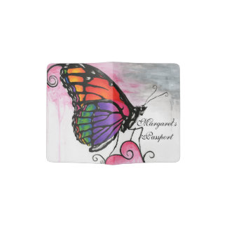 Rainbow Monarch Butterfly Original Fantasy Art Passport Holder