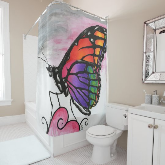 Rainbow Monarch Butterfly Original Fantasy Art Shower Curtain