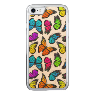 Rainbow Monarch Butterfly Pattern Carved iPhone 7 Case
