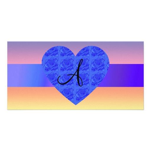 Rainbow monogram rose heart photo cards