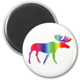 Rainbow Moose Magnet