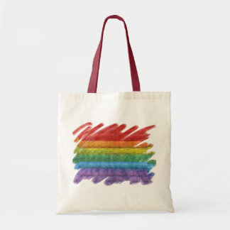 Rainbow Mosaic Gay Pride Flag (Paintbrush) Budget Tote Bag