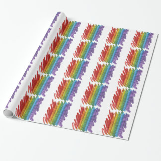 Rainbow Mosaic Gay Pride Flag (Paintbrush) Wrapping Paper