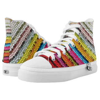 Rainbow Mosaic Hightop Printed Shoes