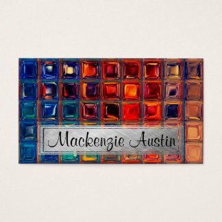 Rainbow Mosaic Tile Bold Bright Primary Faux Gems Business Card