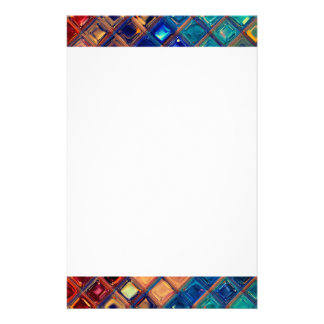 Rainbow Mosaic Tile Bold Bright Primary Faux Gems Personalized Stationery