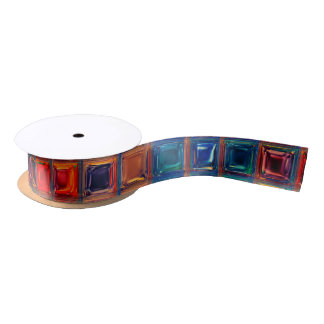 Rainbow Mosaic Tile | Bold Bright Primary Gems | Satin Ribbon