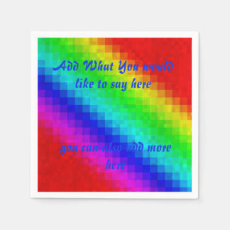 Rainbow Mosaic Tiles Add Your WordsTemplate, Paper Napkin