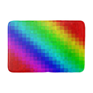 Rainbow Mosaic Tiles Pattern, Bath Mat