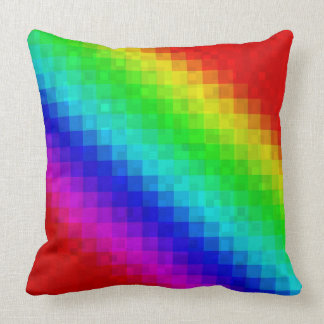 Rainbow Mosaic Tiles Pattern, Big Throw Cushion