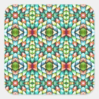 Rainbow Mosaic Tiles Stones Square Sticker