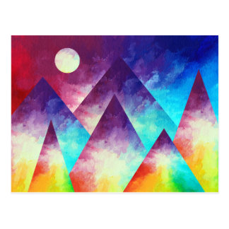 Rainbow Mountain Postcard, Mountain Painting Postcard