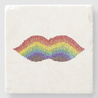 Rainbow Moustache Marble Coaster