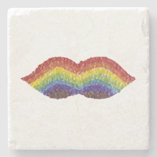 Rainbow Moustache Marble Coaster Stone Beverage Coaster