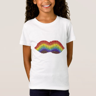 Rainbow Moustache No Background Girl's T-Shirt