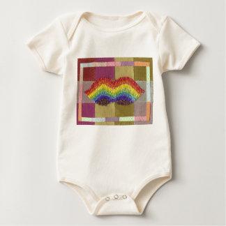 Rainbow Moustache Organic Babygro Baby Bodysuit