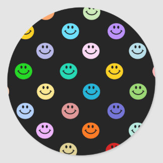 Rainbow Multicolor Smiley Face Pattern Classic Round Sticker